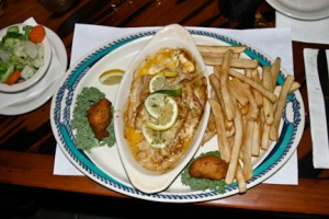 Stuffed grouper at Salt Creek Restaurant in Suwannee, FL