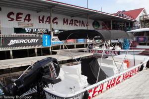 The Sea Hag Marina has a rental fleet of 21 24-foot Carolina Skiffs.