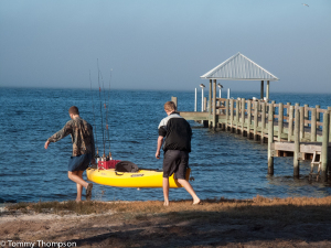 There's a beach at the Shired Island Park campground, as well as a short fishing pier.