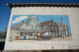 This mural in downtown Trenton, FL depicts the town's history...