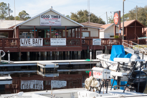In addition to fuel, dockage, bait, tackle and lodging, Good Times Marina in Steinhatchee has become well known for its Who Dat Bar & Grille