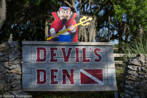 Greetings from the devil at Devil's Den, near Williston, Florida