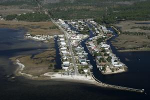 """An aerial view of """"downtown"""" Keaton Beach, FL"""