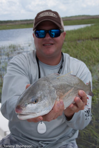 CCA Florida's Executive Director, Brian Gorski, prepares to release a tagged redfish on Florida's Natural North Florida coastline.