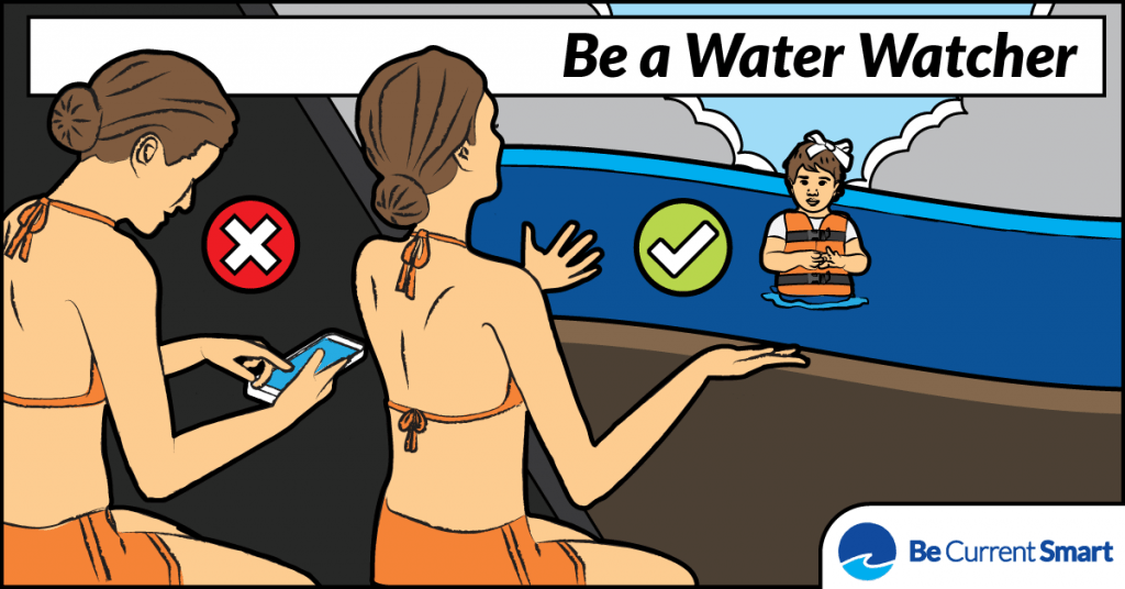 Be a Water Watcher! Take the pledge to keep an eye on members of your group when they are in or near the water!