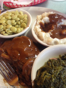 A recent lunchtime special:  hamburger steak, real mashed potatoes, lima beans and mustard greens!