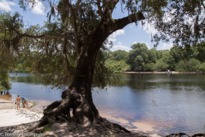The boat ramp at Gornto Spring, on the Suwannee River, is convenient to Rock Bluff.