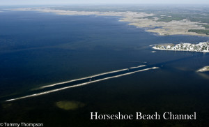 Horseshoe Beach jetties and channel--from the air