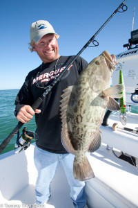 This hefty gag grouper attacked a lipped plug in 14-feet of water, near the Barge Canal