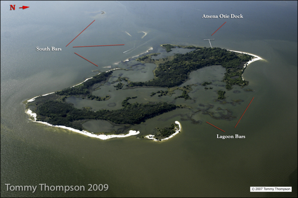 An aerial view of Atsena Otie Key, one of the southernmost of the Cedar Keys, in Levy County, Florida