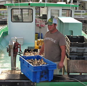 A load of stone crab claws arriving at the dock in Suwannee, Florida