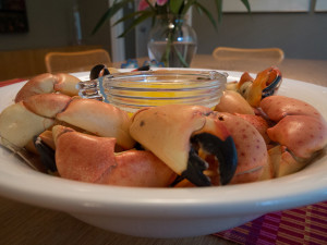 Stone Crabs at their best--served warm with drawn butter!