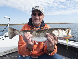 Wintertime seatrout come in all sizes on Florida's Big Bend.  Here's a whopper caught on a Paul Brow Devil Lure