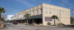 Rows of restored buildings flank Call Street in Starke, FL