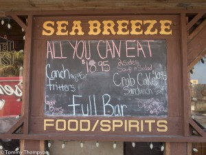 ....and when you get back from a long day of paddling and catching, stop in at the Sea Breeze Restaurant for a cold drink or a delicious meal!