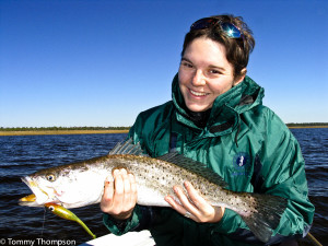 The combination of cold weather and coastal creeks means big spotted seatrout!