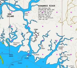 Barnett and Dan May Creeks are easy to reach from the town of Suwannee, in Dixie County.  They're at the southern end of East Pass