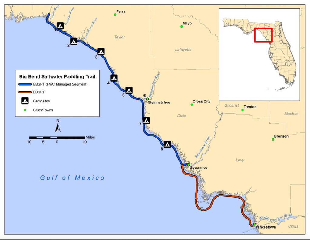 The Big Bend Saltwater Paddling Trail runs from St. Marks to Yankeetown, on Florida's Gulf Coast