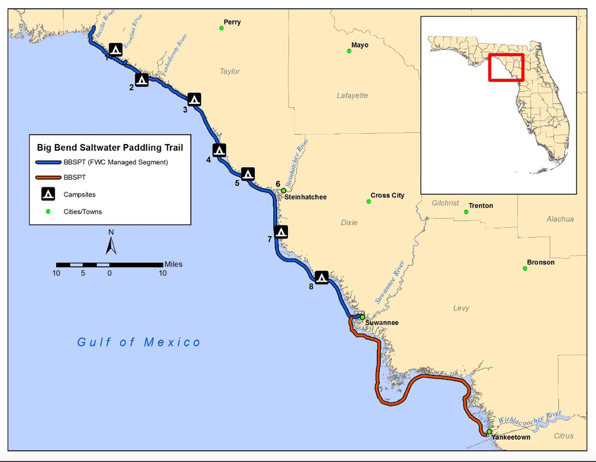 Paddle Natural North Floridas Big Bend Saltwater Paddling Trail - Map of northern florida cities