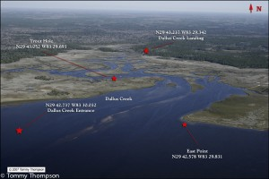 The Gulf entrance to Dallus Creek is about 5 miles northwest of the Steinhatchee River