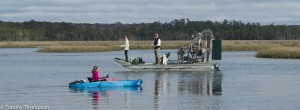 All sorts of anglers and all sorts of boats appear in Dallus Creek during the seatrout run.