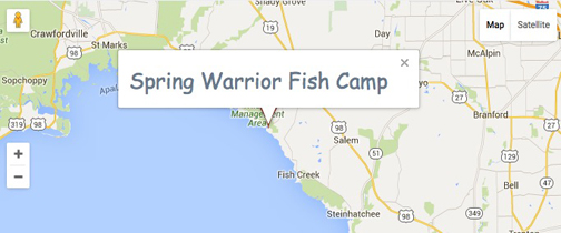 To reach Spring Warrior Fish Camp from Perry, take Puckett Road to Spring Warrior Road and turn right. From Keaton Beach and Steinhatchee, take Beach Road to Ma Dixon Road, turn left to Spring Warrior Road--and left again.