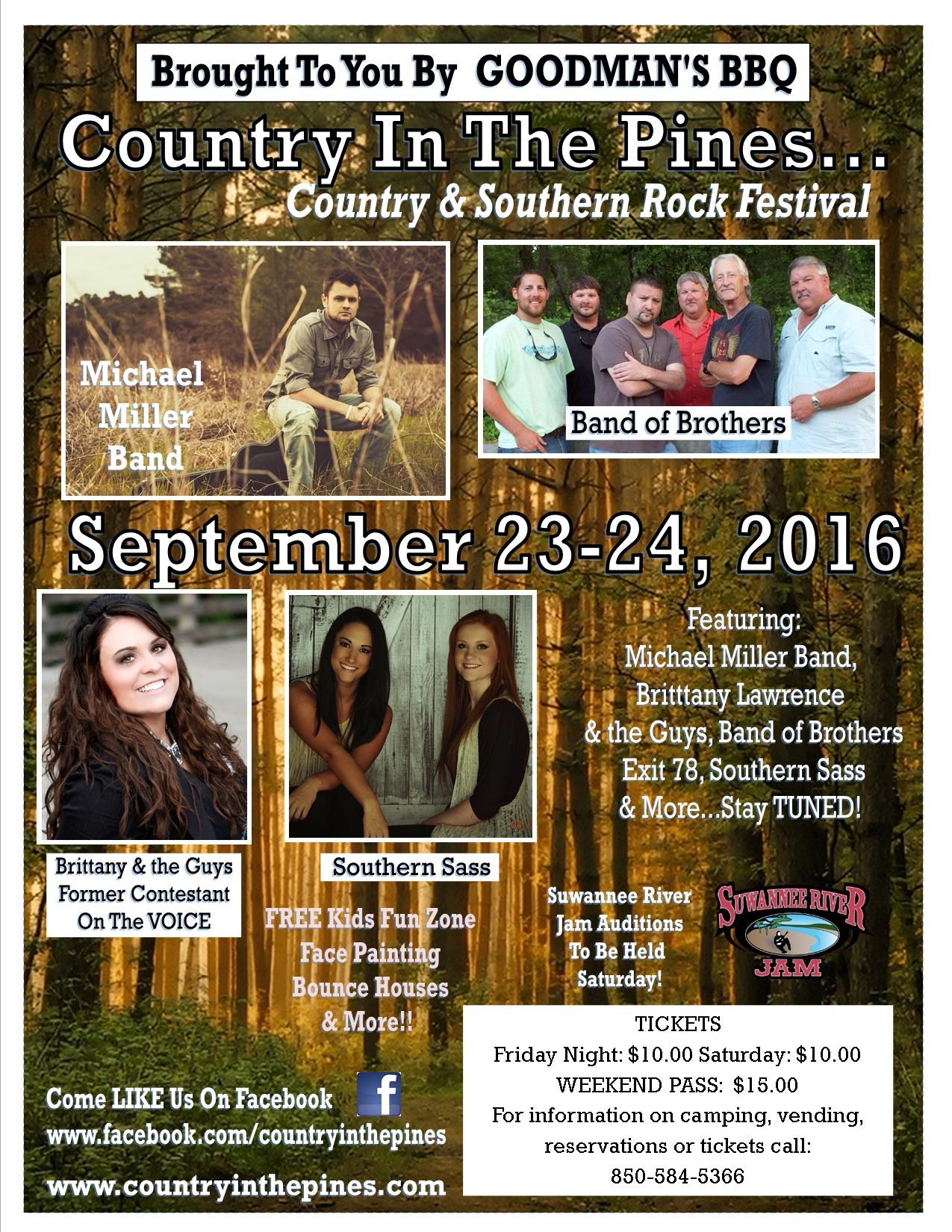 It's Country in the Pines Time!   Perry, Florida Music Festival, Sept. 23-24, 2016