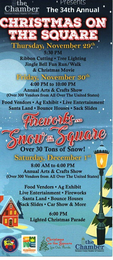 Christmas On The Square 2019 Christmas On The Square, Live Oak, Florida Nov. 29 & 30 and Dec. 1