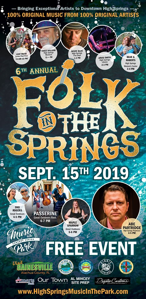 Folk In The Springs--A Free Day of Music and Fun in High Springs, September 15, 2019