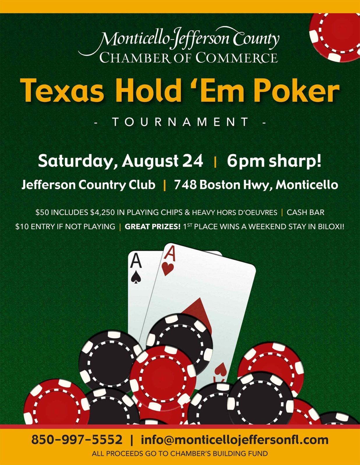 Poker Anyone?  Texas Hold 'Em Tournament, Monticello, Saturday, August 24th To Benefit Chamber Building Fund
