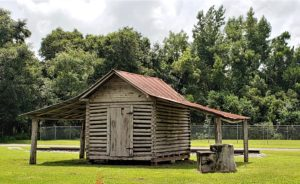 Small wood and log structure with tin roof - probably a farm shed or chicken coop originally