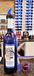 """Photo of a bottle of """"Sorta Sweet"""" Blueberry wine"""